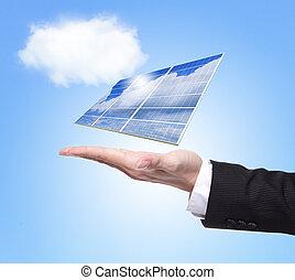 affärsman, hålla, solar panel