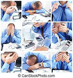 affärsman, ha, stressa