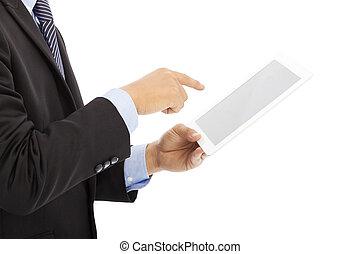 affärsman, hand, nära, toucha, eller, ipad, uppe, kompress