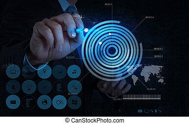 affärsman, hand, teckning, virtuell, kartlägga, affär
