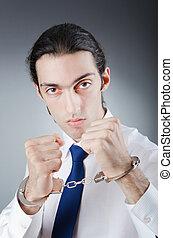 affärsman, handcuffed, för, hans, brott