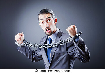 affärsman, handcuffed, för, hans, crim