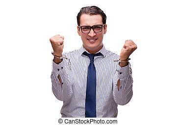 affärsman, handcuffed, isolerat, vita