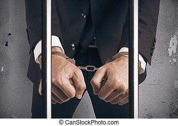 affärsman, handcuffed