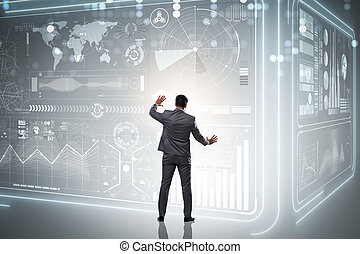 affärsman, handel, in, värld, börs