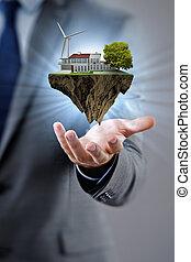 affärsman, holdingen, flygning, ö, in, eco, begrepp