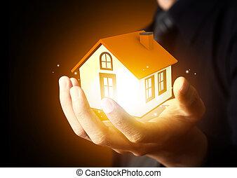 affärsman, holdingen, hem, modell