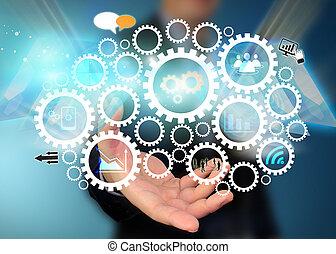 affärsman, holdingen, social, media