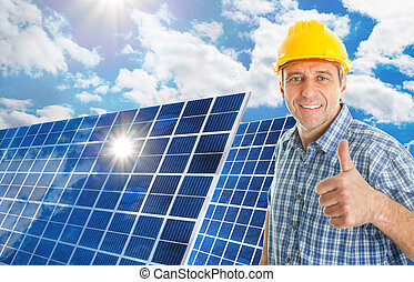affärsman, holdingen, solar panel, på, äng