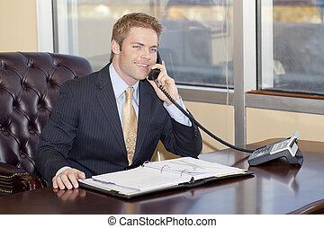 affärsman, hos, work.
