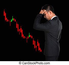 affärsman, in, block, investering, begrepp