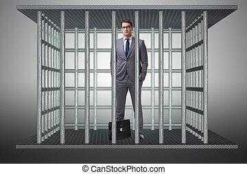 affärsman, in, den, bur, affärsidé