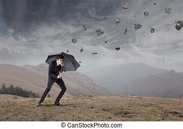 affärsman, in, den, oväder