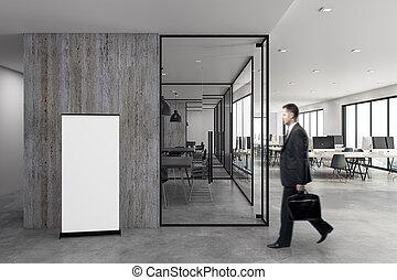affärsman, in, kontor, med, affisch