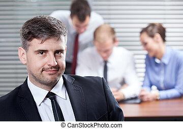 affärsman, in, kontoren