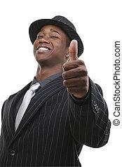 affärsman, in, passa, och, hatt, ge tummarna uppe