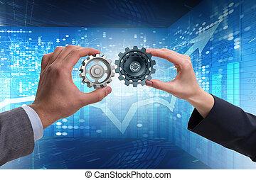 affärsman, in, teamwork, begrepp, med, kugghjul