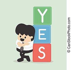 affärsman, ja, vektor, illustration