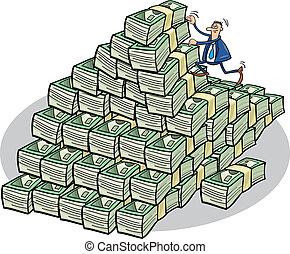 affärsman, klättrande, pengar, fjäll