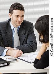 affärsman, konsultera