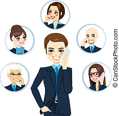 affärsman, kontakta, nätverk