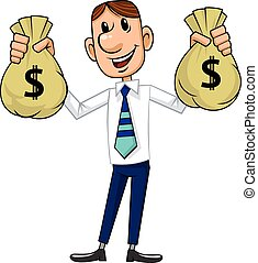 affärsman, kontanter