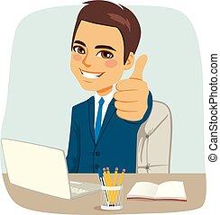 affärsman, kontor, lycklig