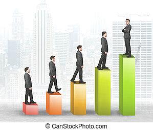 affärsman, kris, uppstå