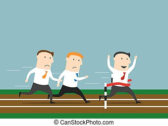 affärsman, löpningen, affär, vinnande