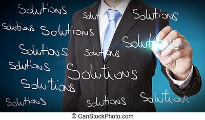 affärsman, lösning, begrepp, omöjlig