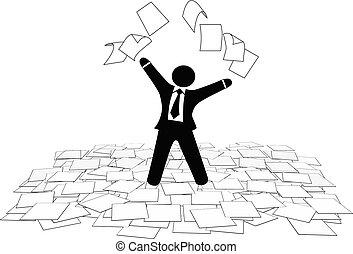affärsman, lyror, tidning arbeta, sidor, till, luft, golv