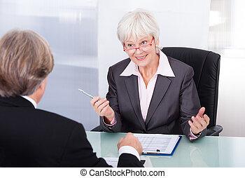 affärsman, möte, affärskvinna