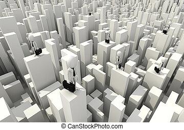 affärsman, mananseende, skyskrapa, taktopp, 3