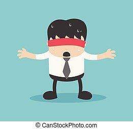affärsman, med, a, rött tyg, avspegla, den, bekymmer, av, ignorance.