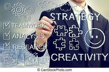 affärsman, med, concetps, av, kreativitet, och, strategi
