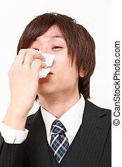 affärsman, med, en, allergi