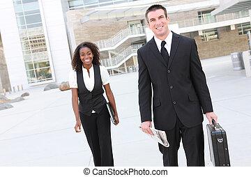 affärsman, med, kvinna, co-worker