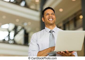 affärsman, med, laptopdator