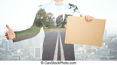 affärsman, med, papp, affisch