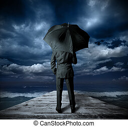 affärsman, med, paraply