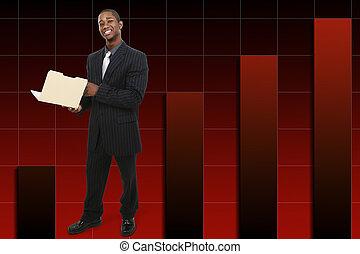 affärsman, med, tumme uppe, över, resning, graf, bakgrund.