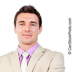 affärsman, närbild, attraktiv