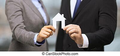 affärsman, och, affärskvinna, holdingen, vita huset