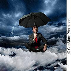 affärsman, och, den, oväder