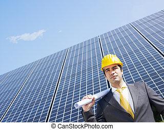 affärsman, och, sol, paneler
