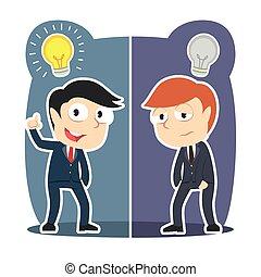 affärsman, olik, idé