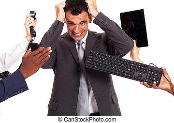 affärsman, omkring, av, mångfald, kontor, redskapen