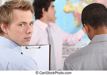 affärsman, på, a, professionell, utbildning