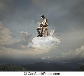 affärsman, på, moln