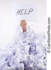 affärsman, papper, överväldigad, ber om, hjälp